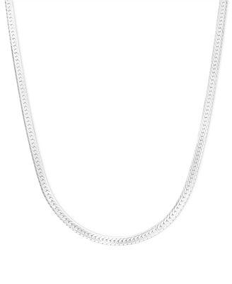 "14k White Gold Necklace, 20"" Flat Herringbone Chain ..."