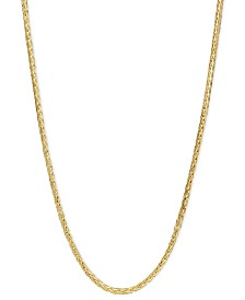"14k Gold Necklace, 16"" Diamond Cut Wheat Chain (9/10mm)"