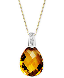14k Gold Necklace, Citrine (4-3/4 ct. t.w.) and Diamond Accent Pear Brio Drop Pendant