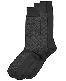 Perry Ellis Men's 3-Pk. Microfiber Patterned Socks