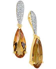 Citrine (2-1/2 ct. t.w.) & Diamond (1/4 ct. t.w.) Drop Earrings in 14k Gold