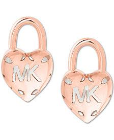 Michael Kors Two-Tone Logo Heart Padlock Stud Earrings