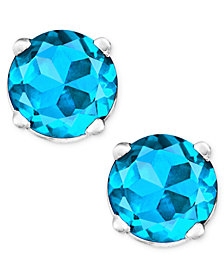 Blue Topaz Stud Earrings in 14k White Gold (1 ct. t.w.)
