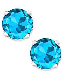 Blue Topaz Stud Earrings in 14k White Gold (1 ct. t.w.)