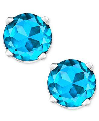 Macy S Blue Topaz Stud Earrings In 14k White Gold 1 Ct T W