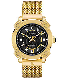 Bulova Women's Precisionist GRAMMY® Diamond-Accent Gold-Tone Stainless Steel Bracelet Watch 38mm