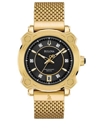 Bulova Women's Precisionist GRAMMY® Diamond-Accent Gold-Tone Stainless Steel Bracelet Watch 38mm