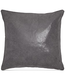 "Home Moonscape Reversible Leather Charcoal 16"" Square Decorative Pillow"