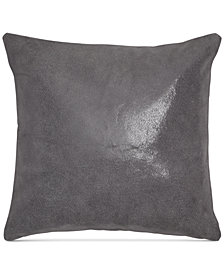 "Donna Karan Home Moonscape Reversible Leather Charcoal 16"" Square Decorative Pillow"