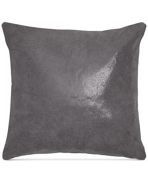 """Donna Karan Home Moonscape Reversible Leather Charcoal 16"""" Square Decorative Pillow"""