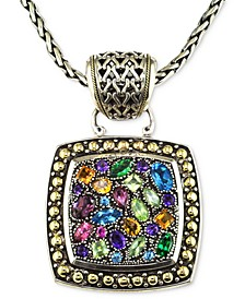 Balissima by EFFY® Multistone Square Pendant in Sterling Silver and 18k Gold