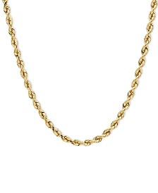 """14k Gold Necklace, 24"""" Diamond Cut Rope Chain (4mm)"""