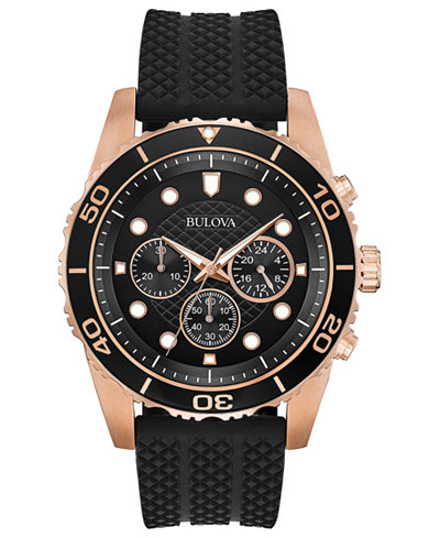 Bulova Men's Chronograph Sport Black Silicone Strap Watch 43mm, Created for Macy's