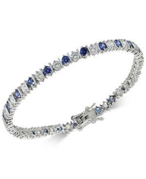 GIANI BERNINI   Giani Bernini Cubic Zirconia Sapphire Tennis Bracelet In Sterling Silver, Created For Macy'S   Goxip