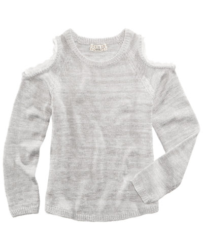 Pink Republic Crochet-Trim Cold-Shoulder Sweater, Big Girls (7-16 ...