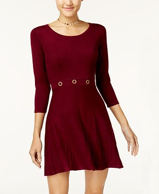 BCX Juniors' Grommet Fit & Flare Sweater Dress