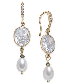 Paul & Pitü Naturally Two-Tone Pavé & Imitation Pearl Double Drop Earrings