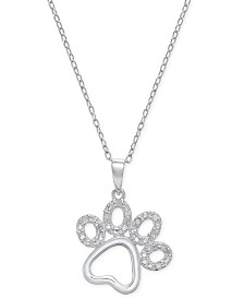 Diamond Pawprint Pendant Necklace (1/10 ct. t.w.) in Sterling Silver