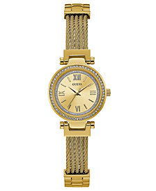 GUESS Women's Gold-Tone Stainless Steel Bracelet Watch 27mm