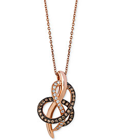 Le Vian Chocolatier® Diamond Abstract Pendant Necklace (1/4 ct. t.w.) in 14k Rose Gold
