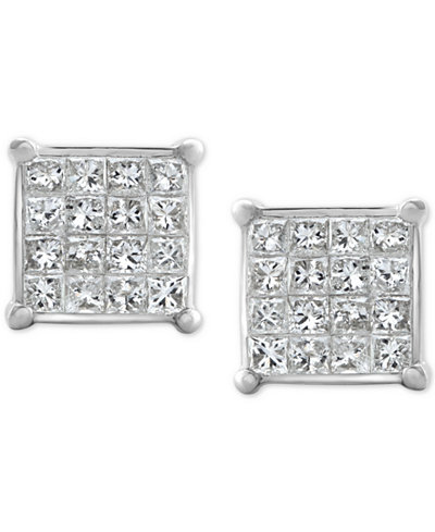 Diamond Square Cluster Stud Earrings (1/2 ct. t.w.) 10k White Gold