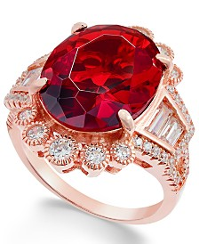 Simulated Ruby & Cubic Zirconia Ring in 14k Rose Gold-Plated Sterling Silver