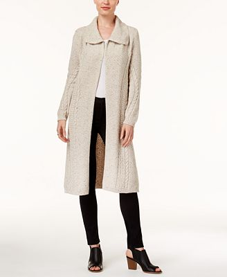 Style & Co Petite Cable-Knit Tweed Duster Cardigan, Created for ...