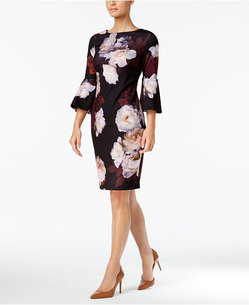 e8198627 Calvin Klein Floral-Print Bell-Sleeve Sheath Dress & Reviews ...