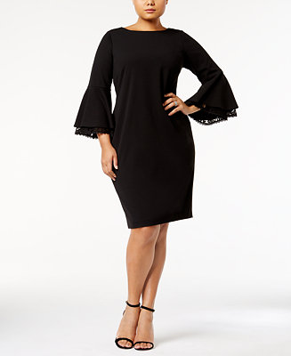 Calvin Klein Plus Size Lace Bell Sleeve Scuba Dress