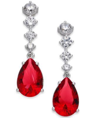 Silver-Tone Multi-Crystal Teardrop Drop Earrings, Created for Macy's
