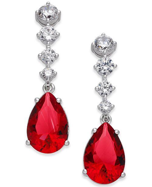 Danori Silver-Tone Multi-Crystal Teardrop Drop Earrings, Created for Macy's