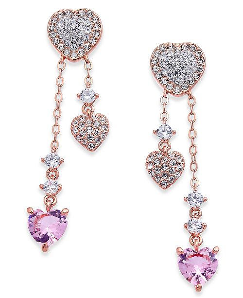 Danori Rose Gold-Tone Pavé & Crystal Heart Drop Earrings, Created for Macy's