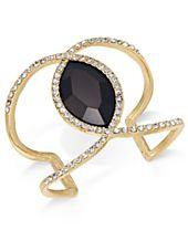I.N.C. Gold-Tone Pavé & Jet Stone Open Cuff Bracelet, Created for Macy's