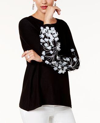 Alfani Petite Embellished Sweater, Created for Macy's