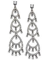 I.N.C. Silver-Tone Crystal Pavé Dangle Drop Earrings, Created for Macy's