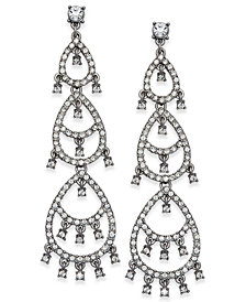 I.N.C. Silver-Tone Crystal Pavé Dangle Drop Earrings, Created for Macy's