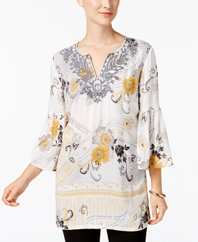 Charter Club Petite Embroidered Bell-Sleeve Tunic, Created for Macy's