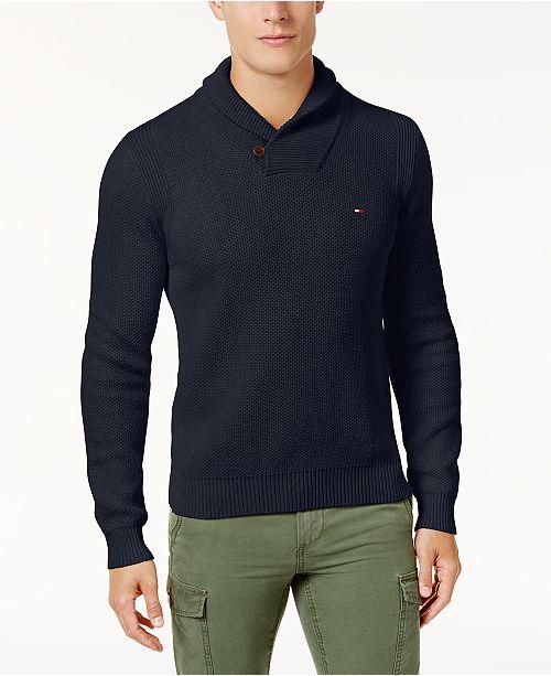 31a496826e64 Tommy Hilfiger Men s Waffle Knit Shawl-Collar Sweater