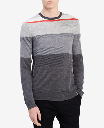 Calvin Klein Men's Texture Stripe Merino Sweater