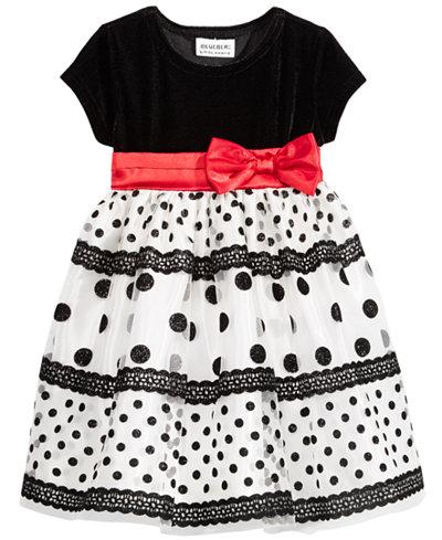 Blueberi Boulevard Flocked-Dot Dress, Baby Girls