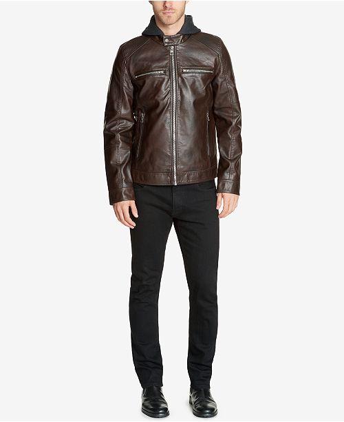 06110a4fd Men's Faux-Leather Detachable-Hood Motorcycle Jacket