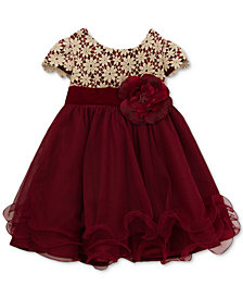 Rare Editions Metallic-Crochet Ruffle Dress, Baby Girls