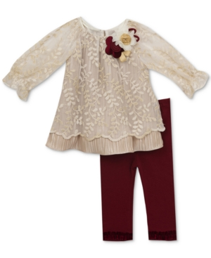 Rare Editions 2Pc Embroidered Tunic  Leggings Set Baby Girls (024 months)