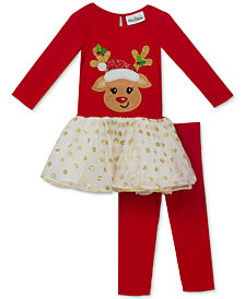 Rare Editions 2-Pc. Reindeer Tutu Tunic and Leggings Set, Baby Girls (0-24 months)
