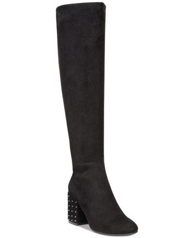 Bar III Grand Studded Heel To-The-Knee Boots, Created For Macy's