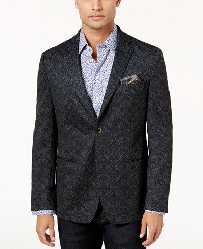 Tallia Men's Slim-Fit Navy and Gray Pattern Sport Coat