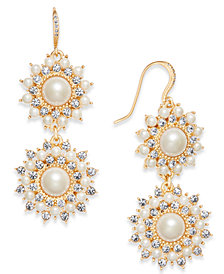 Charter Club Gold-Tone Imitation Pearl & Crystal Double Drop Earrings, Created for Macy's