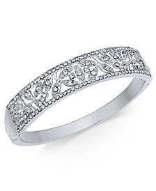 Charter Club Silver-Tone Pavé Filigree Bangle Bracelet, Created for Macy's