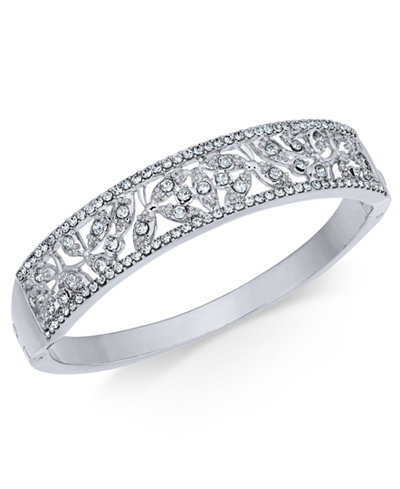 Charter Club Silver-Tone Pavé Filigree Bangle Bracelet, Created for Macy's