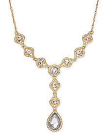 Charter Club Gold-Tone Crystal Lariat Necklace, Created for Macy's